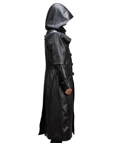 Hooded Trench Jacket huntsman black hooded leather trench coat jackets maker