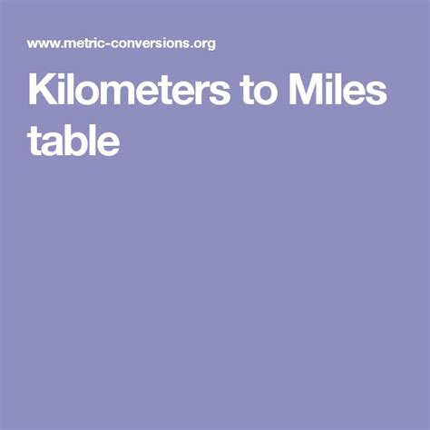 converter km to miles kilometers to miles table conversion tables pinterest