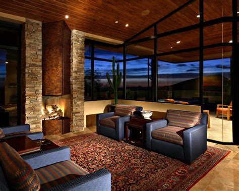 Studio Living Room Ideas desert mountain estate contemporary family room