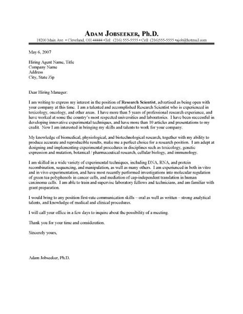 Research Cover Letter Exle Research Cover Letter Exles Cover Letter Sle 2017