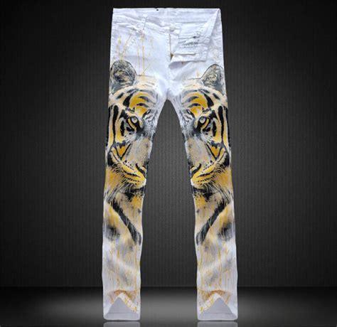 tiger pattern jeans best fashion mens graffiti jeans joggers tiger pattern