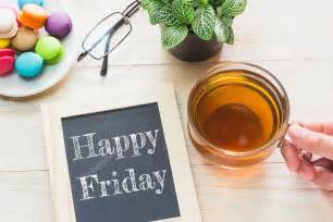 Happy Friday Tea Tins by Concept Happy Friday Message On Wood Boards Macaroons And