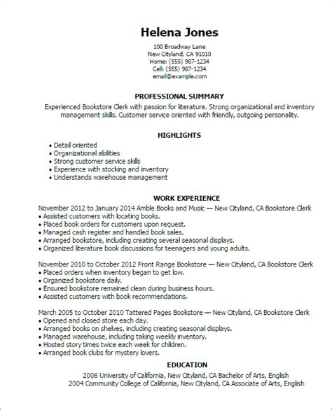 Exle Resume For Railroad Position by 1 Bookstore Clerk Resume Templates Try Them Now