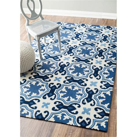 And Blue Rug by Nuloom Handmade Modern Floral Fancy White And Blue Rug