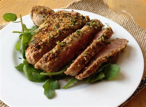 Steak Tuna marinated tuna steak with a sesame crust