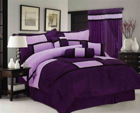purple queen bedding purple microsuede patchwork 7 piece comforter set bed in a