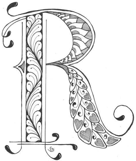 printable alphabet doodles r by v stenberg 2013 art doodles journals pinterest