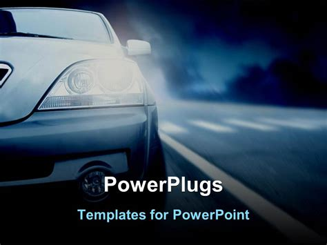 Powerpoint Template Half Of Car With Headlights On Nighttime Highway Driving 6465 Car Powerpoint Template