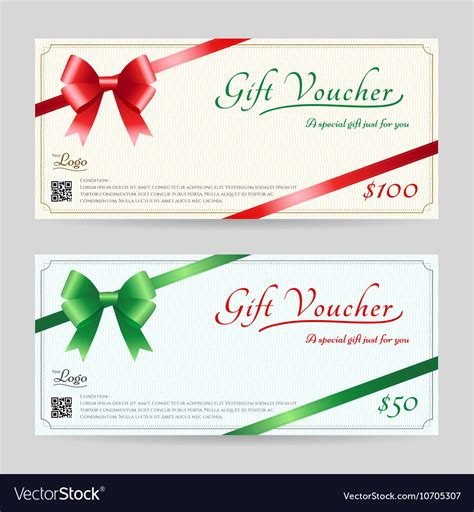 christmas gift card  gift voucher template vector image