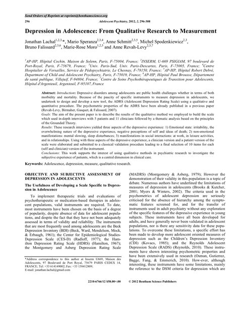 qualitative research papers depression in adolescence from pdf available