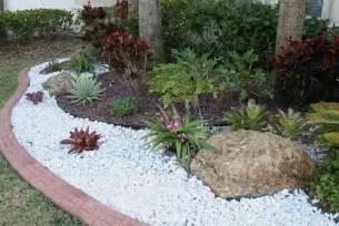 white landscaping rocks southeast florida garden evolvement front garden finished