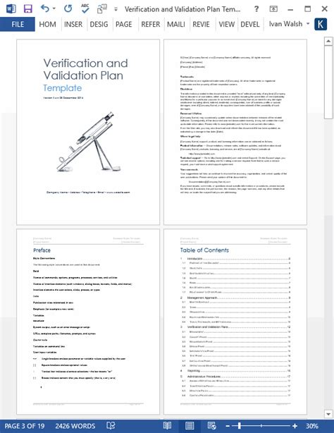software validation plan template verification and validation plan ms word template