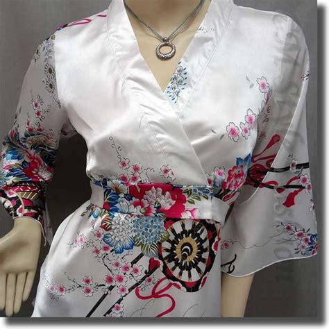 43082 Blue Pink Silky S M L Blouse Le040717 Import japanese kimono floral silky satin blouse top white s m l