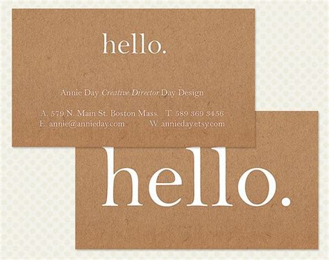 hi business card design hello shabby chic antique branding brown whi