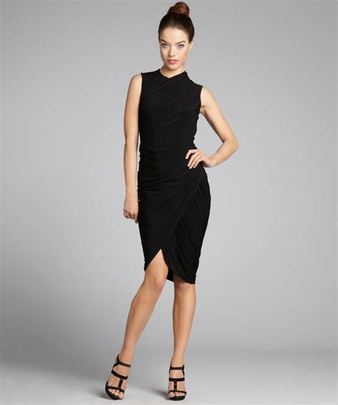 alexander wang draped dress alexander wang women s black pleated jersey knit draped