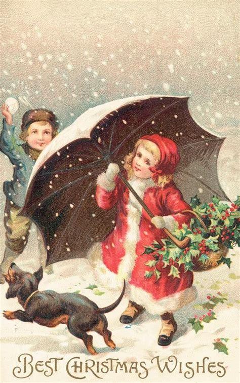british christmas card   children  winter clothing shielded   snow