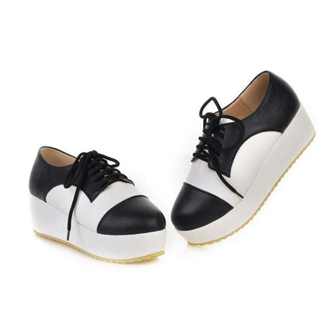 fashion closed toe patchwork black pu platform shoes
