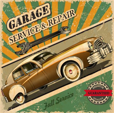 vintage style car advertising poster vector free vector in