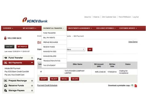 Credit Card Bill Sle India Presentment Biller Demo A Bill Payment And Bill Registration Demo