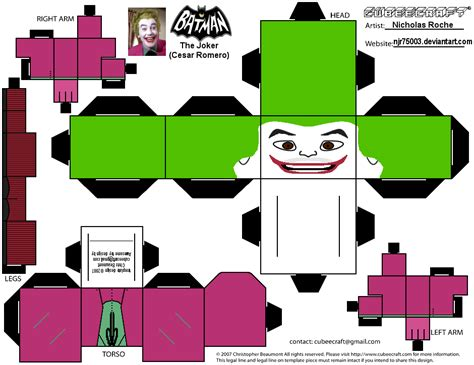 Cubee Papercraft - cubee batman 60 s tv joker by njr75003 on deviantart