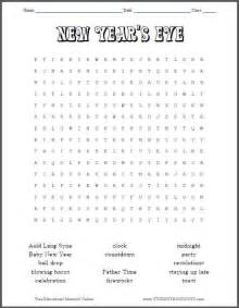 new year worksheets free new year s word search puzzle student handouts