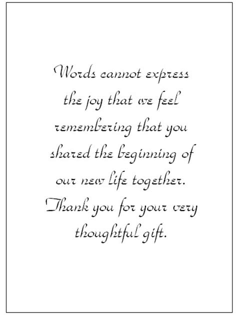 thank you letter wedding gift exles wedding thank you note wording thank you card templates