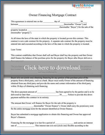Owner Financing Mortgage Contract Sle Lovetoknow Mortgage Sales Contract Template