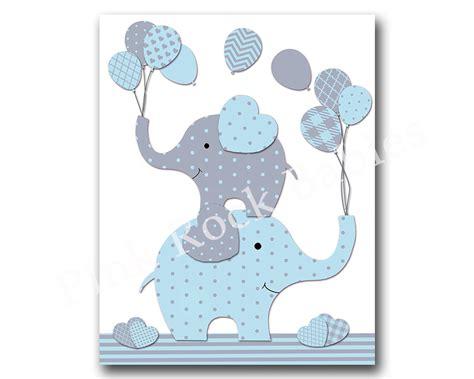 Nursery Decor Elephants Blue Elephant Nursery Wall Baby Boy Nursery By Pinkrockbabies