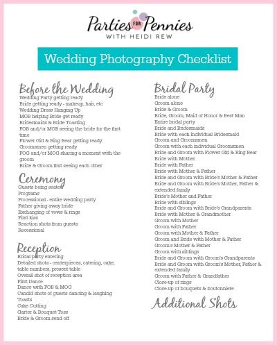 Wedding Photography List by Wedding Photography Checklist For Pennies
