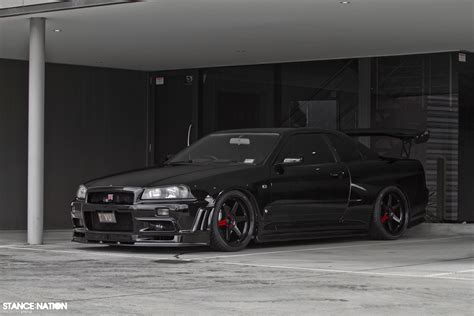nissan r34 black boosted fitted legend stancenation form gt function