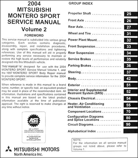 download car manuals 2001 mitsubishi montero sport engine control 2004 mitsubishi montero sport original repair shop manual set