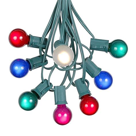 Colored Outdoor Light Bulbs 100 Multi Colored G30 Globe Outdoor String Light Set On Green Wire Novelty Lights Inc