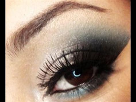 eyeshadow tutorial black and white white and teal smokey eyes makeup tutorial using raving