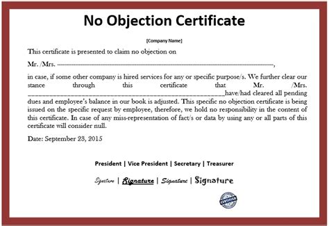sample objection certificate templates