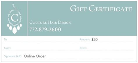 hair design certificate gift certificates