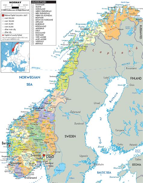 norway europe detailed political map of norway ezilon maps