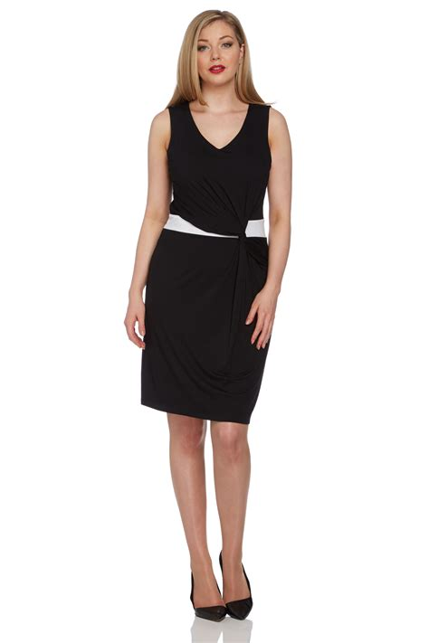 Shopping Colour Block Scarf Dress by Exclusive Colour Block Waist Wrap Dress In Black