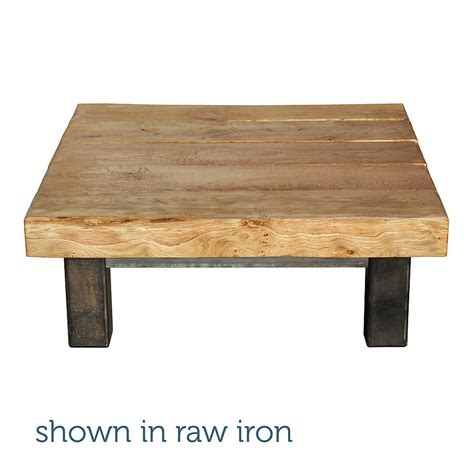 oak and iron large square oak and iron large square coffee table by oak iron furniture notonthehighstreet
