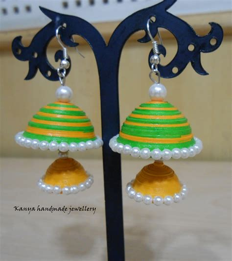 Jhumkas With Paper - green yellow decker jhumka craft shops india