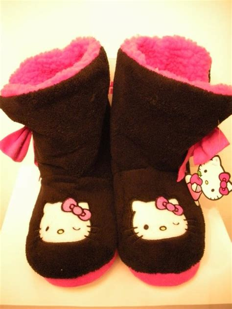 hello slipper boots adults hello slipper boots sanrio black pink l large 9