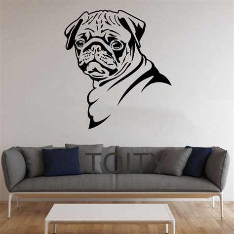 Pug Home Decor by Pug Dog Stickers Wall Pet Animal Vinyl Decals Nursery