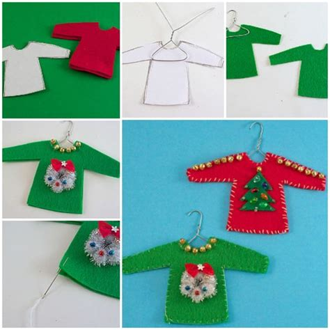 diy ugly sweater ornament crafts funny and ornaments