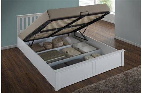 Ottoman Gas Lift Storage Bed White Or Oak Ottoman Gas Lift Storage Bed 4ft6 5ft King Size Space Saver Ebay