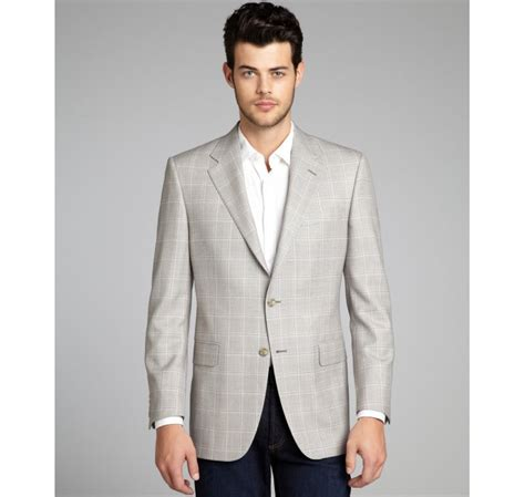 light gray sport coat hickey freeman light grey and pink plaid wool twobutton