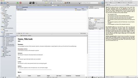 snowflake method template scrivener snowflake layout w quickreference scrivener