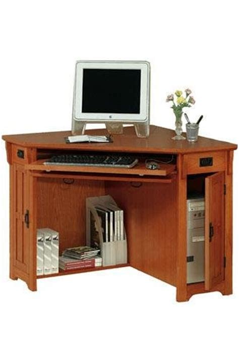 Small Oak Corner Computer Desk Oak Corner Computer Desk On Sale Craftsman Corner Computer Desk W Compartment 30 Quot Hx50 Quot W Oak