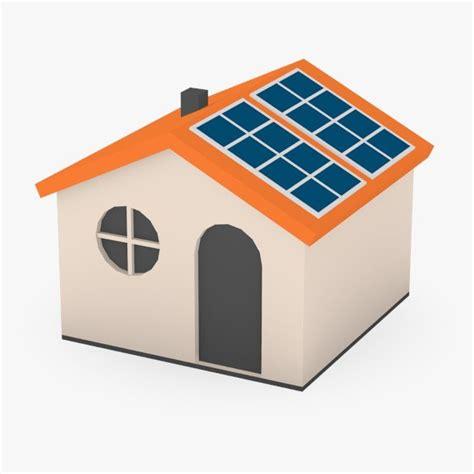 solar panel 3ds cartoon house solar panels