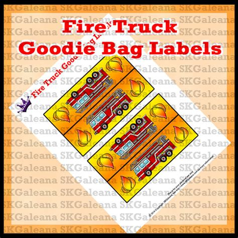 Snack Goodie Bag Label printable truck goodie bag toppers or labels instant