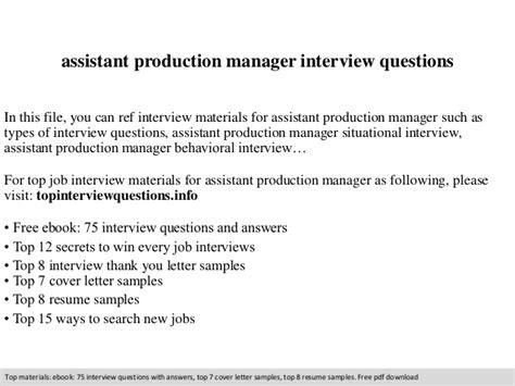 assistant production manager questions