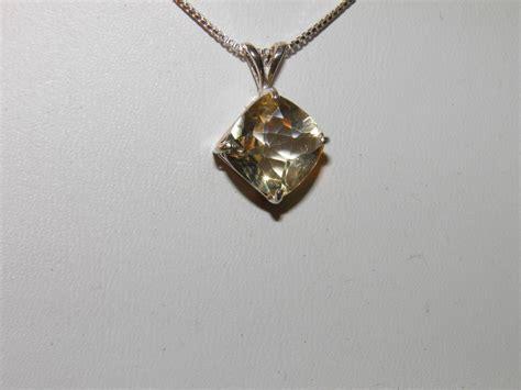 Lemon Quartz 42 45 Ct new sterling silver pendant 3 70ct lemon quartz 10x10mm